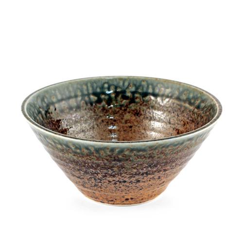 "Ainagashi Blue Earthy Ridged Noodle Bowl 34 fl oz / 7.72"" dia"