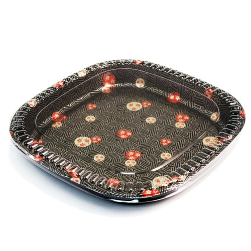 "TZ-500S Rounded Square Momiji Leaf Take Out Platter 16"" (20/pack)"