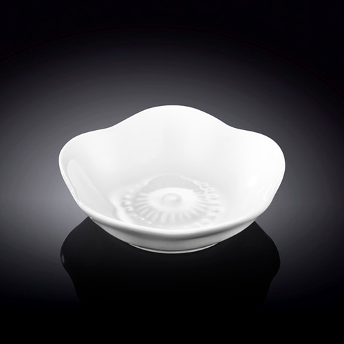 "Wilmax Flower Motif White Soy Sauce Dish 2.8"" dia"