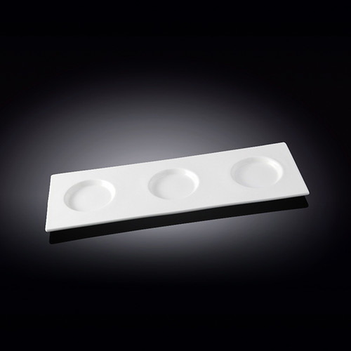 """[Clearance] Wilmax 3-Round-Well White Rectangular Tasting Board 13.78"""" x 4.8"""""""