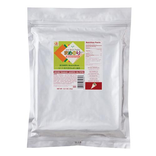 Gluten-Free Mamenorisan Soybean Paper Shichimi Assorted Chill Pepper 20 Sheets