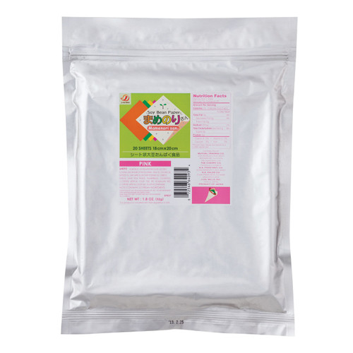 Gluten-Free Mamenorisan Soybean Paper Pink 20 Sheets