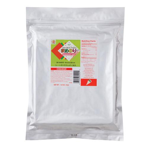 Gluten-Free Mamenorisan Soybean Paper Orange (Paprika) 20 Sheets