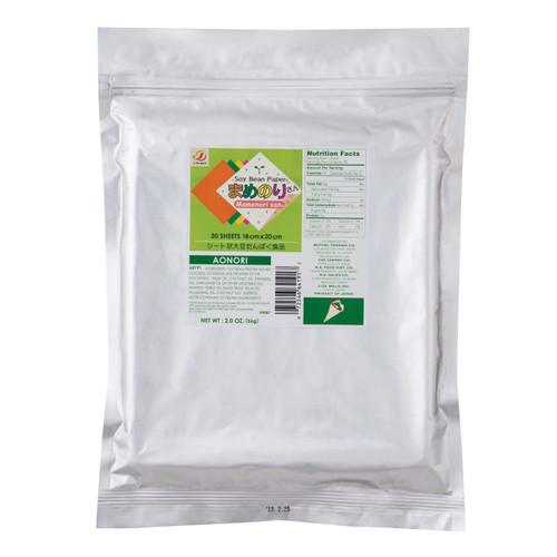 Gluten-Free Mamenorisan Soybean Paper Aonori Dried Green Seaweed 20 Sheets