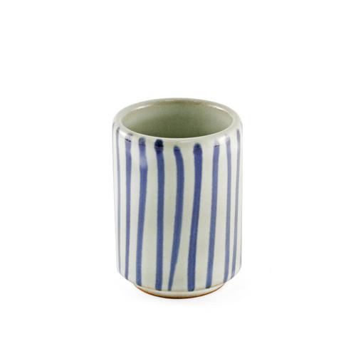 "Tokusa Blue Lined Yunomi Tea Cup 4.5 fl oz / 2.28"" dia"