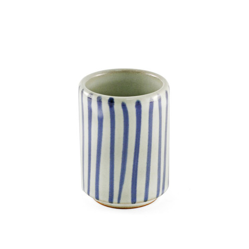 "Tokusa Blue Lined Yunomi Tea Cup 4.5 fl oz / 2.28"" dia"