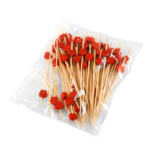 """Decorative Picks for Appetizers and Cocktails Red Flower 4.72"""" (100/pack)"""