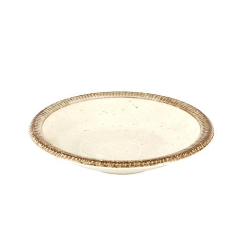 """Rimmed Ivory Dinner Plate 9.61"""" dia"""