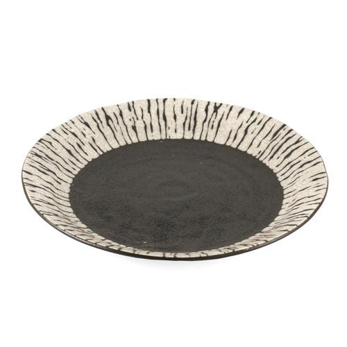 """Black & White Dinner Plate 9.4"""" dia"""