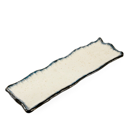 "Ivory Rectangular Plate with Navy Trim 13.31"" x 4.25"""