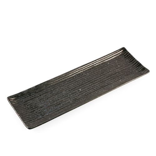 "Tenmoku Black Rectangular Plate with Lines 13.2"" x 4.2"""