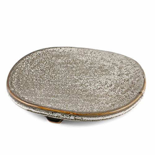 "Grainy Appetizer Plate with 3 Legs 7.28"" dia"