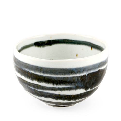 """White & Navy Striped Rice Bowl 19.5 fl oz / 4.92"""" dia"""