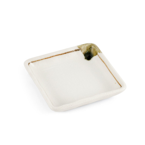 """[Clearance] Shino White Square Side Plate with Brown Line 3.35"""" x 3.35"""""""