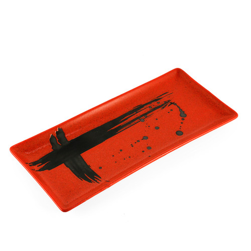 "Red Rectangular Plate with Brushstroke 10.83"" x 5.12"""