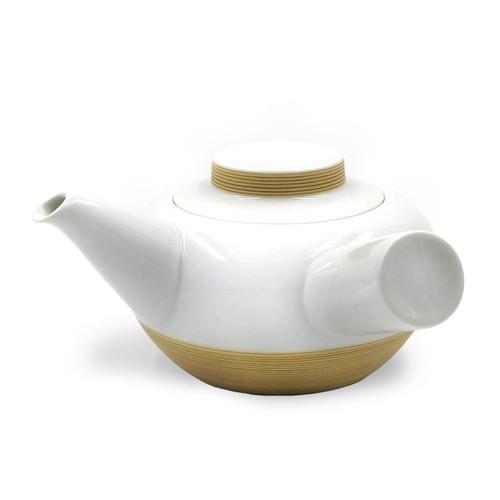 Hakusan Porcelain Kyusu Teapot with Brown Stripe 16 fl oz