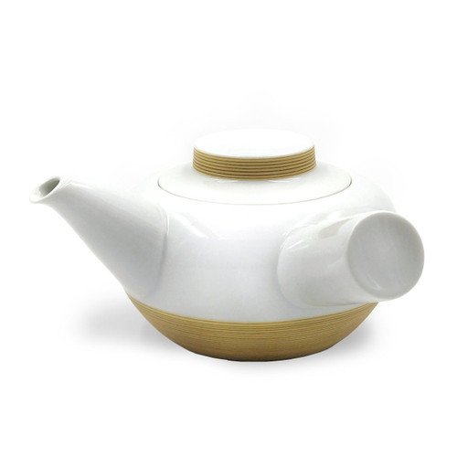 Hakusan Porcelain Kyusu Teapot with Brown Stripe 16 fl oz