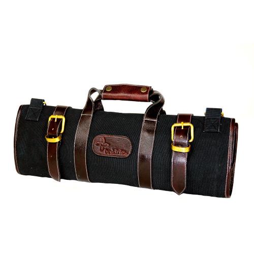 Boldric 17-Pocket Black Canvas Roll Knife Bag