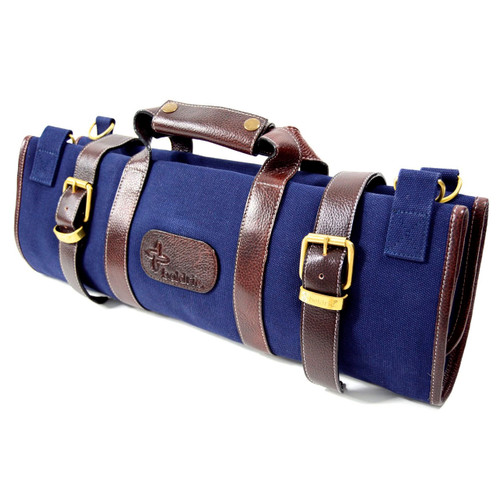 Boldric 17-Pocket Navy Canvas Roll Knife Bag