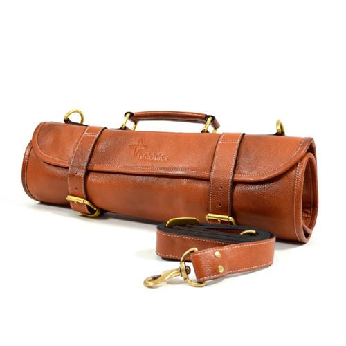 Boldric 9-Pocket Brown Leather Roll Knife Bag
