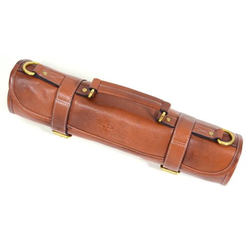 1b9e6750f27c Boldric 9-Pocket Brown Leather Roll Knife Bag
