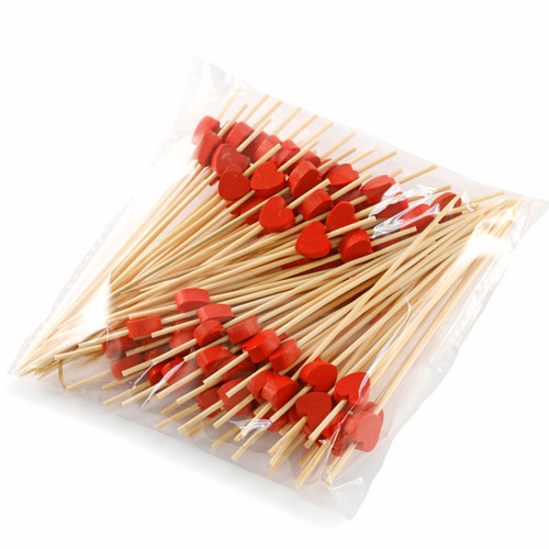 "Decorative Picks for Appetizers and Cocktails Red Heart 4.72"" (100/pack)"