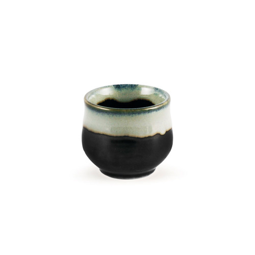 White and Black Ceramic Sake Cup 1 fl oz