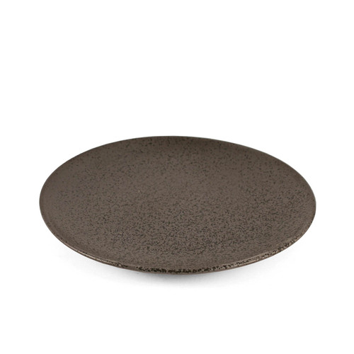 "Black Speckled Round Plate 7"" dia"