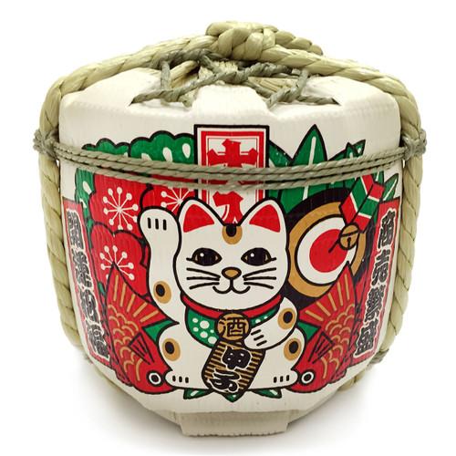 Lucky Cat Empty Glass Sake Cask 60 fl oz / 1.8 L