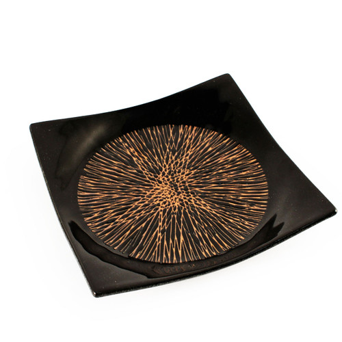 """Tenmoku Black Square Plate with Radial Lines 7.1"""" x 7.1"""""""