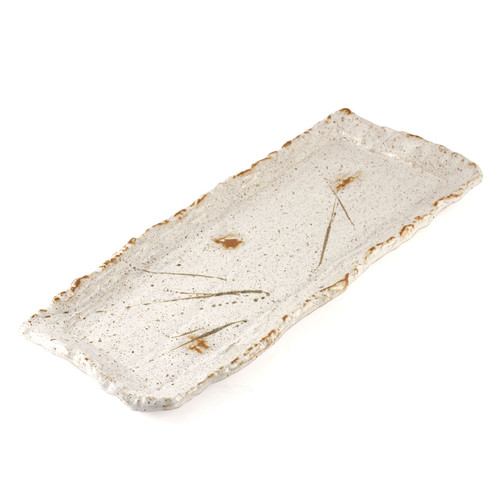 "White Kessho Rectangular Plate 16.14"" x 6.3"""