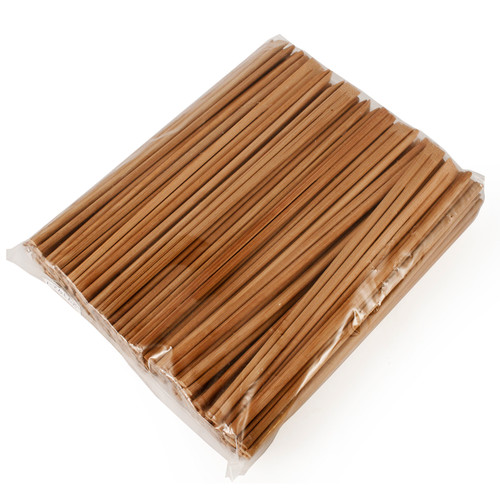 """8.25"""" Disposable Carbonized Slanted Tip Bamboo Chopsticks - 100 Pairs / Pack"""