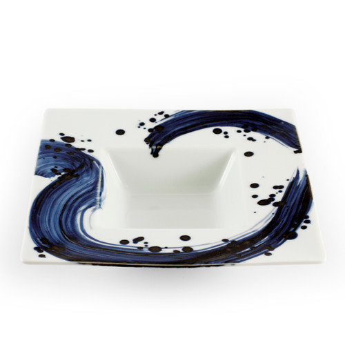 "Blue Brushstroke White Rimmed Square Kobachi Bowl 10 fl oz / 8.86"" x 8.86"""