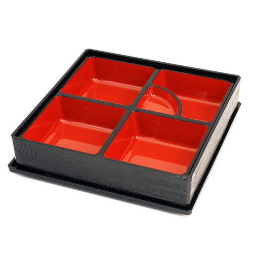 """Black Square Bento Box with Inner Compartment Tray and Lid 10.12"""" x 10.12"""""""
