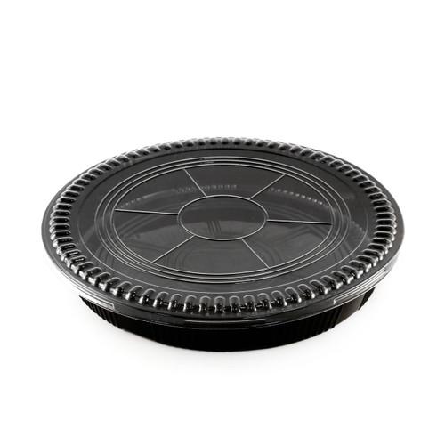 "STI-61 Round Black Take Out Platter 11"" dia (120/case)"