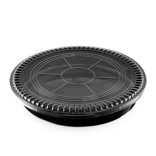 "STI-63 Round Black Take Out Platter 12.75"" dia (120/case)"