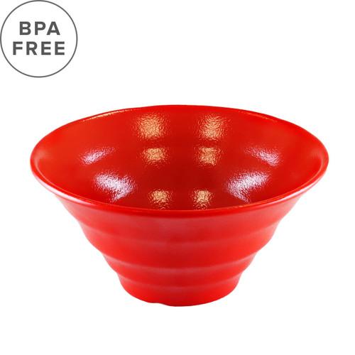 "[NEW] Melamine Red Grainy Noodle Bowl 57 fl oz / 8.7"" dia"