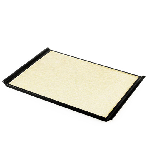 """Non-slip Gold Rectangular Serving Tray with Handles 15.5"""" x 10.75"""""""