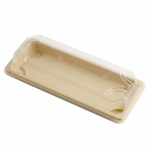 "Lids for ST-2G Biodegradable Take Out Sushi Tray 8.6"" x 3.5"" # 9113 (800 lids/case)"