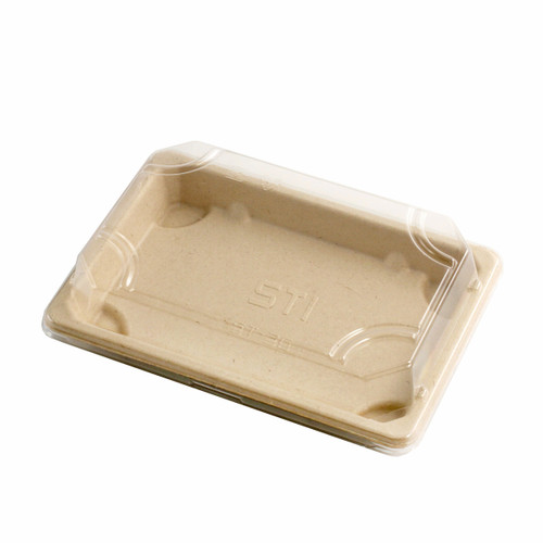 "Lids for ST-3G Biodegradable Take Out Sushi Tray 6.5"" x 4.5"" #84951 (1000 lids/case)"