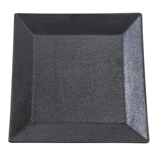 "Black Speckled Porcelain Square Rimmed Plate 12"" x 12"""