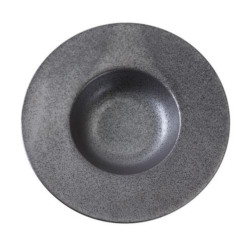 """Black Speckled Porcelain Wide Rimmed Bowl 10 fl oz / 5""""-9.25"""" dia"""
