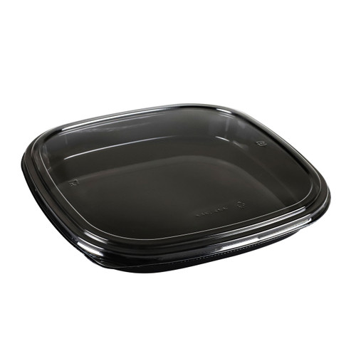 "PET 4-NIN Square Black Take Out Platter 12.59"" x 12.59"" (100/case)"