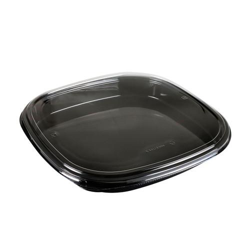"PET 5-NIN Square Black Take Out Platter 14.37"" x 14.37"" (100/case)"