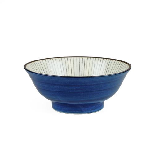 """[NEW] Tokusa Blue Lined Interior Noodle Bowl fl oz / """" dia"""