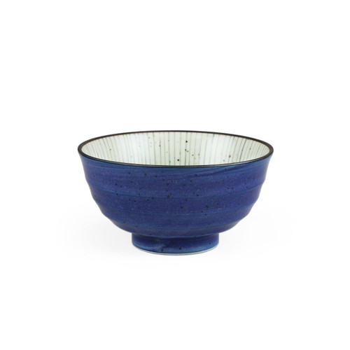 "[NEW] Tokusa Blue Lined Interior Donburi Bowl 35 fl oz / 6.73"" dia"