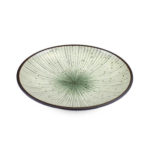 "[NEW] Tokusa Blue Lined Interior Salad Plate 7.75"" dia"