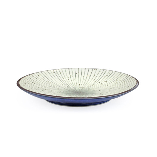 "[NEW] Tokusa Blue Lined Interior Dinner Plate 9.06"" dia"