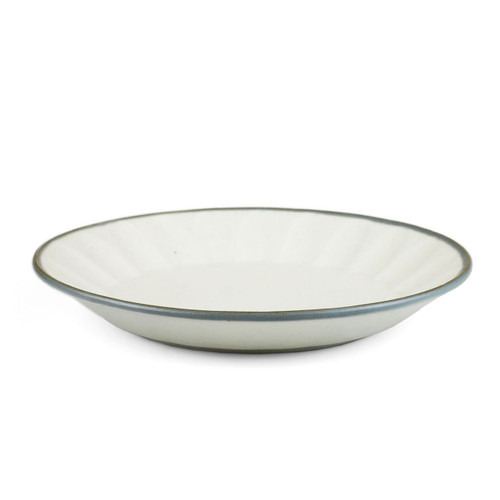 "[NEW] Asamoya Matte Ivory Dinner Plate with Indigo Rim 9.7"" dia"