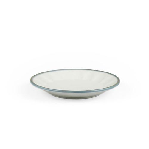 "[NEW] Asamoya Matte Ivory Side Plate with Indigo Rim 5.5"" dia"